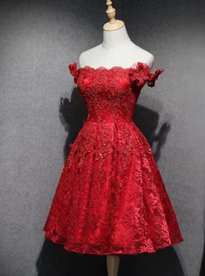 Cheap Cocktail Dresses Short Red Knee Length A Line Lace Prom Dresses_1