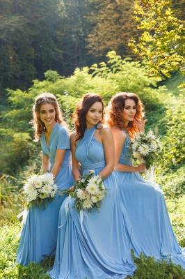 Blau Brautjungfernkleider Lang Günstig Chiffon Kleider für Brautjungfern_4