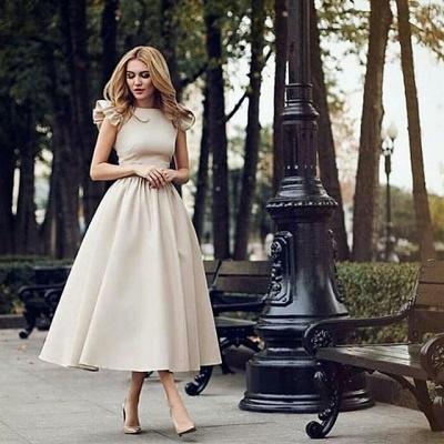 Elegant Kurze Brautkleid Creme A Linie Kinelange Hochzeitskleider Online_2