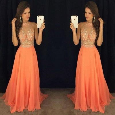 Orange Lange Abschlussballkleider Abendkleider Perlen Chiffon A linie Abendmoden_2