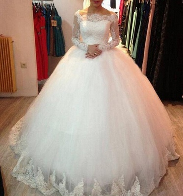 Elegant White Wedding Dresses Long Sleeves Princess Wedding Gowns With Lace_2