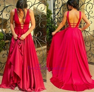 Evening Dresses Red Long Chiffon V Neck Backless Evening Wear Party Dresses_2