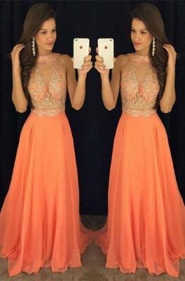 Orange Lange Abschlussballkleider Abendkleider Perlen Chiffon A linie Abendmoden_1