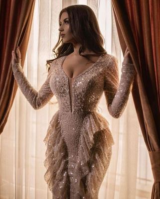 Designer prom dresses long glitter | Evening dresses with sleeves_3