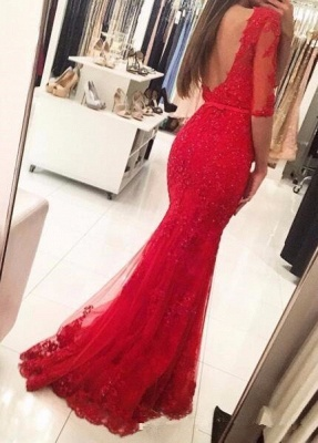 Red Evening Dresses Long Sleeves Lace Mermaid Evening Wear Prom Dresses Online_2