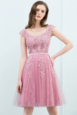 Simple Cocktail Dresses Short Pink With Lace A Line Evening Wear Prom Dresses_8