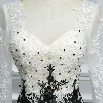 Elegant white black evening dresses with sleeves long evening wear lace online_3