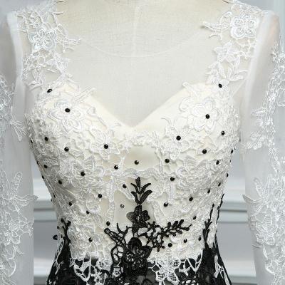 Elegante Weiße Schwarze Abendkleider Mit Ärmel Lange Abendmoden Spitze Online_3
