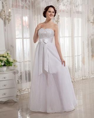 Elegant Wedding Dresses Long Ivory Organza Sheath Dress Bridal Wedding Dresses_4