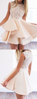 Modern 2 Color Cocktail Dresses Short With Lace A Line Evening Dresses Prom Dresses_3