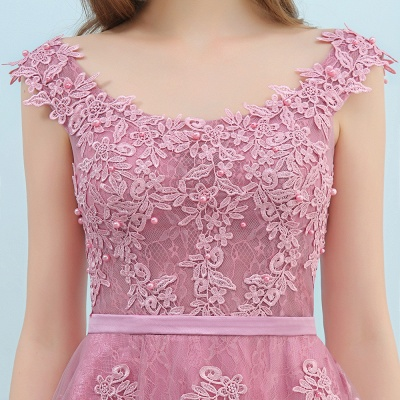 Simple Cocktail Dresses Short Pink With Lace A Line Evening Wear Prom Dresses_10