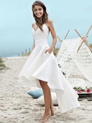 Schlichte Brautkleider Kurz Vorne Lang Hinter Hochzeitskleider A Linie_1