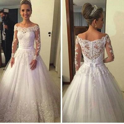 Lange Ärmel Brautkleider Weiß A Linie Tüll Hochzeitskleider Brautmoden Günstig_2