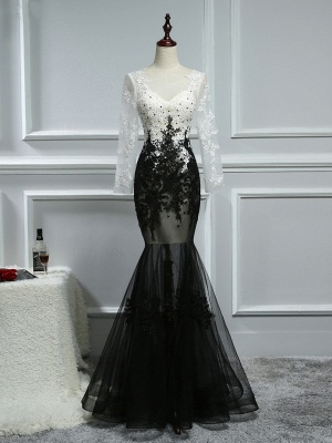 Elegant white black evening dresses with sleeves long evening wear lace online_1