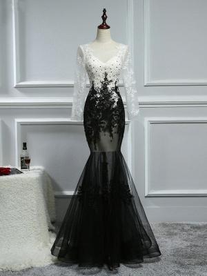 Elegante Weiße Schwarze Abendkleider Mit Ärmel Lange Abendmoden Spitze Online_1