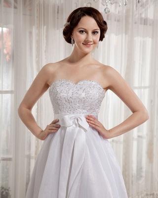 Elegant Wedding Dresses Long Ivory Organza Sheath Dress Bridal Wedding Dresses_3