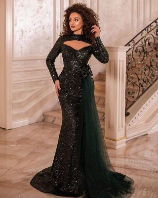 Elegant evening dresses long glitter | Prom dresses with sleeves_1