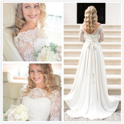 Ivory Wedding Dresses With Sleeves Lace Satin Bridal Gowns Bridal_2