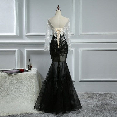 Elegant white black evening dresses with sleeves long evening wear lace online_2
