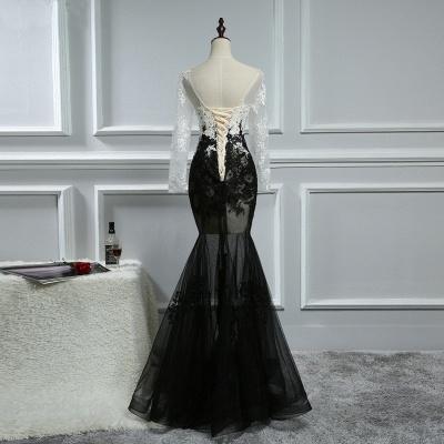 Elegante Weiße Schwarze Abendkleider Mit Ärmel Lange Abendmoden Spitze Online_2