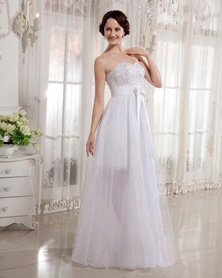 Elegant Wedding Dresses Long Ivory Organza Sheath Dress Bridal Wedding Dresses_5