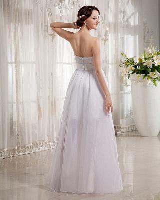 Elegant Wedding Dresses Long Ivory Organza Sheath Dress Bridal Wedding Dresses_2