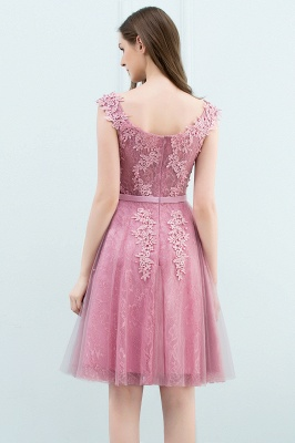 Simple Cocktail Dresses Short Pink With Lace A Line Evening Wear Prom Dresses_11