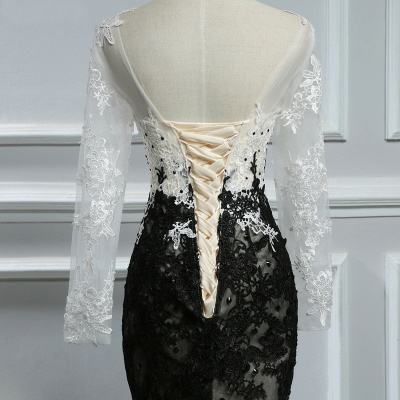 Elegant white black evening dresses with sleeves long evening wear lace online_4