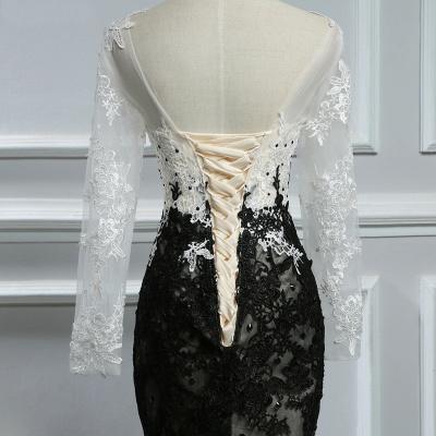 Elegante Weiße Schwarze Abendkleider Mit Ärmel Lange Abendmoden Spitze Online_4