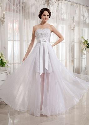 Elegant Wedding Dresses Long Ivory Organza Sheath Dress Bridal Wedding Dresses_1
