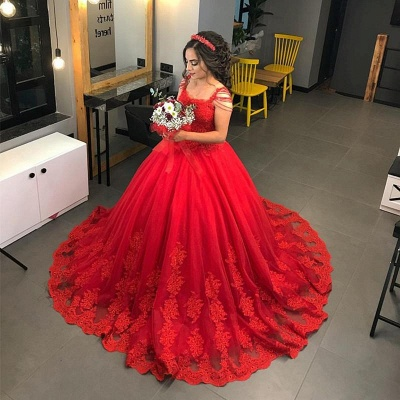 Designer Wedding Dresses Red Lace Princess Wedding Dresses Online_2