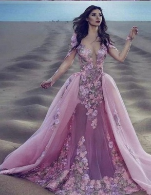 Modern evening dresses with sleeves | Long lace prom dresses_1