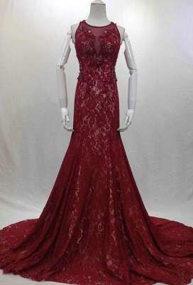 Designer Long Evening Dresses Wine Red Lace Mermaid Straps Evening Wear Prom Dresses Cheap_1
