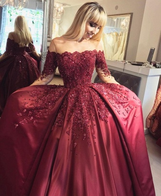 Wine red evening dresses long with sleeves princess dresses evening wear online_3