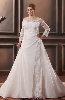 Weiß Brautkleider Große Größe Mit Ärmel Spitze Übergröße Hochzeitskleider_1