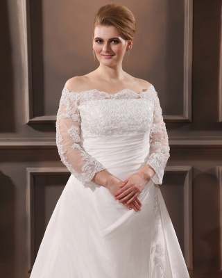 White Wedding Dresses Plus Size With Sleeves Lace Plus Size Wedding Dresses_2