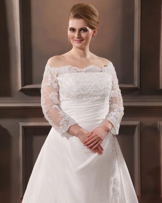 Weiß Brautkleider Große Größe Mit Ärmel Spitze Übergröße Hochzeitskleider_2