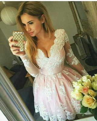 Pink Cocktail Dresses Prom Dresses With Sleeves A-Line Lace Evening Wear_5