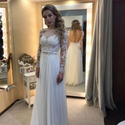 White Wedding Dresses Long Sleeves Chiffon Beach Sheath Dress Wedding Dresses Online_2