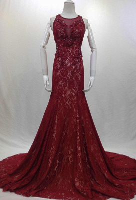Designer Long Evening Dresses Wine Red Lace Mermaid Straps Evening Wear Prom Dresses Cheap_3