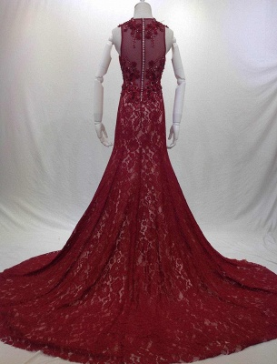 Designer Long Evening Dresses Wine Red Lace Mermaid Straps Evening Wear Prom Dresses Cheap_4