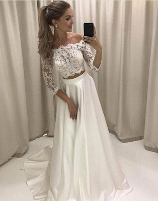 Cheap white evening dresses with sleeves a line lace evening wear online_1