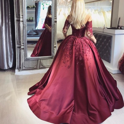 Wine red evening dresses long with sleeves princess dresses evening wear online_4