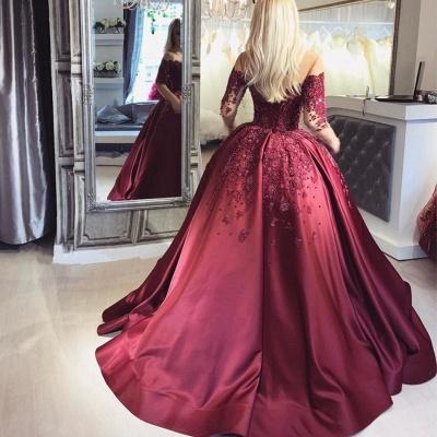 Weinrot Abendkleider Lang Mit Ärmel Prinzessin Kleider Abendmoden Online_4