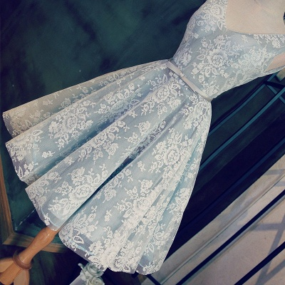 Blue Cocktail Dresses Short Lace Straps A Line Prom Dresses Party Dresses_4
