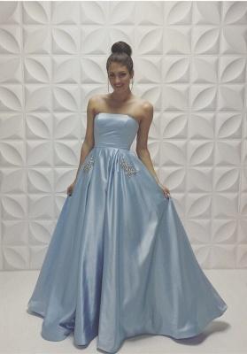 Blau Abendkleider Lang Taft A Linie Abschlussballkleider Abendmoden_1