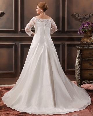 Weiß Brautkleider Große Größe Mit Ärmel Spitze Übergröße Hochzeitskleider_3