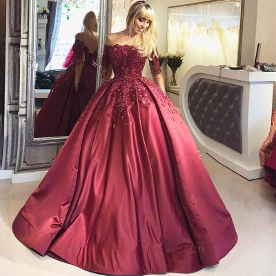 Wine red evening dresses long with sleeves princess dresses evening wear online_2