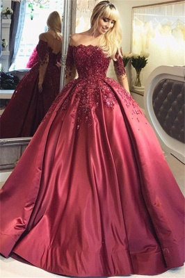 Wine red evening dresses long with sleeves princess dresses evening wear online_1