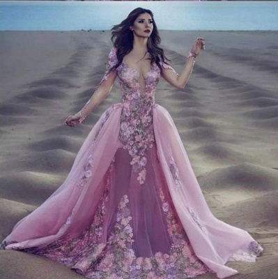 Modern evening dresses with sleeves | Long lace prom dresses_2